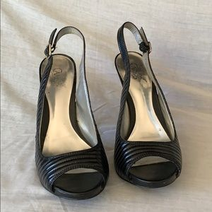 Sexy Carlos Santana black slingback open toe heel